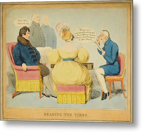 'reading The Times' William Iv Metal Print by Mary Evans Picture Library
