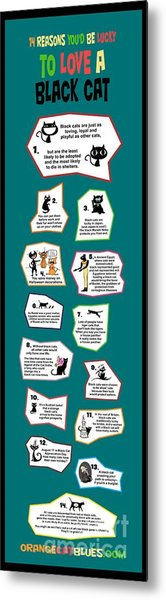 Reasons To Love A Black Cat Infographic Metal Print
