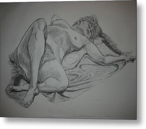 Reclining Female Nude Metal Print