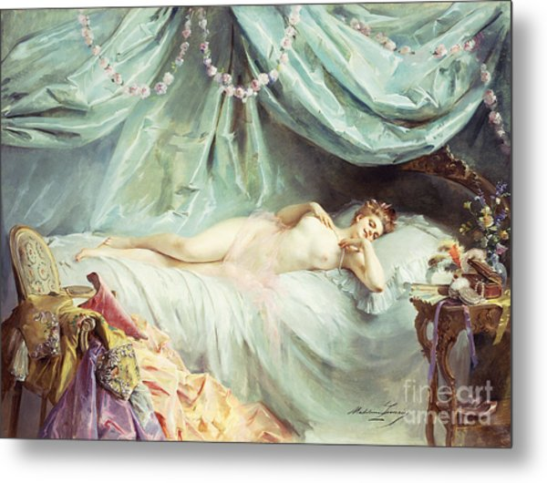 Reclining Nude In An Elegant Interior Metal Print