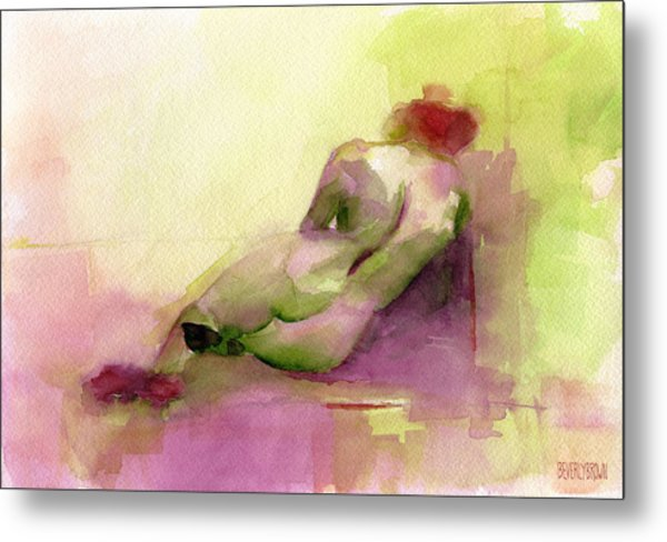 Reclining Woman Magenta Green And Orange Watercolor Painting Metal Print