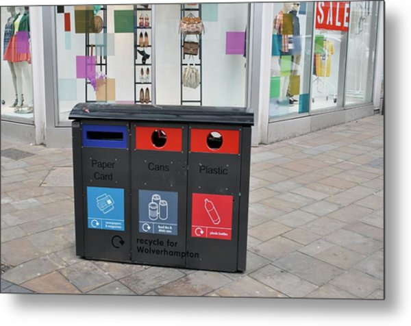 Recycling Bins In Front Of Fashion Shop Metal Print