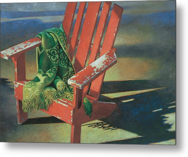 Red Adirondack Chair Metal Print
