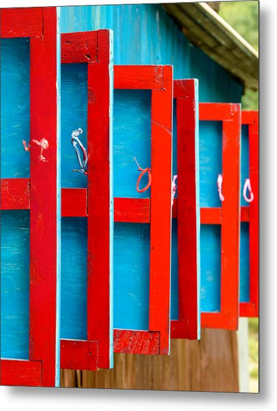 Red And Blue Wooden Shutters Metal Print