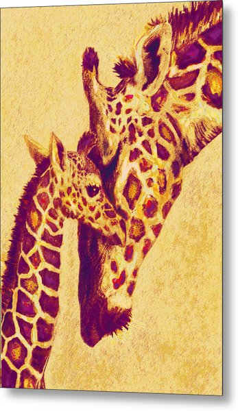 Red And Gold Giraffes Metal Print