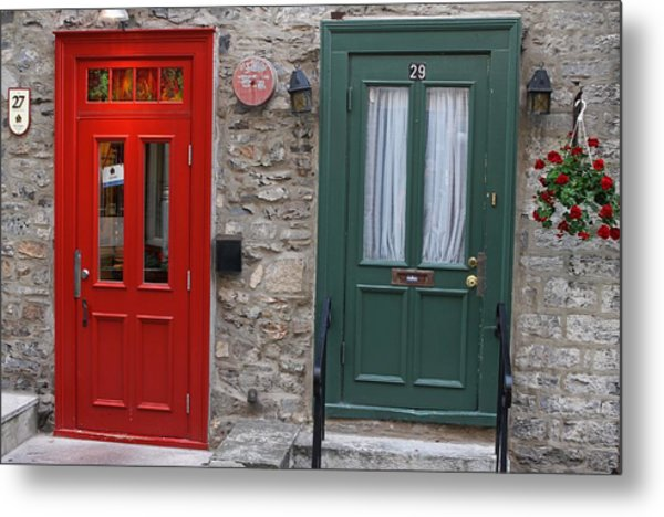Red And Green Doors Of Quebec Metal Print by Juergen Roth