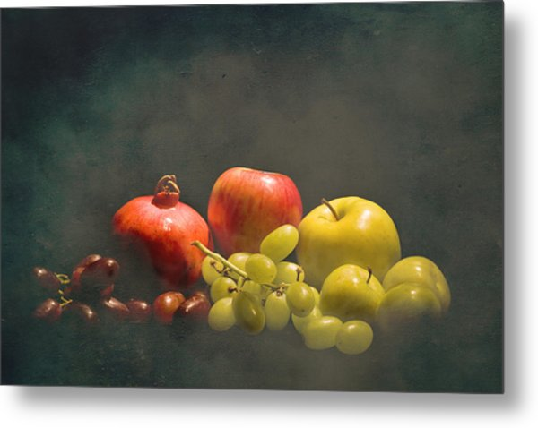 Red And Green Fruit Metal Print