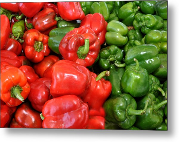 Red And Green  Peppers Union Square Farmers Market Metal Print
