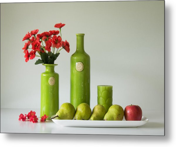 Red And Green With Apple And Pears Metal Print by Jacqueline Hammer