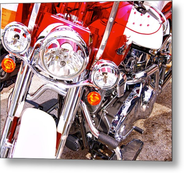 Red And White Metal Print by Dieter  Lesche