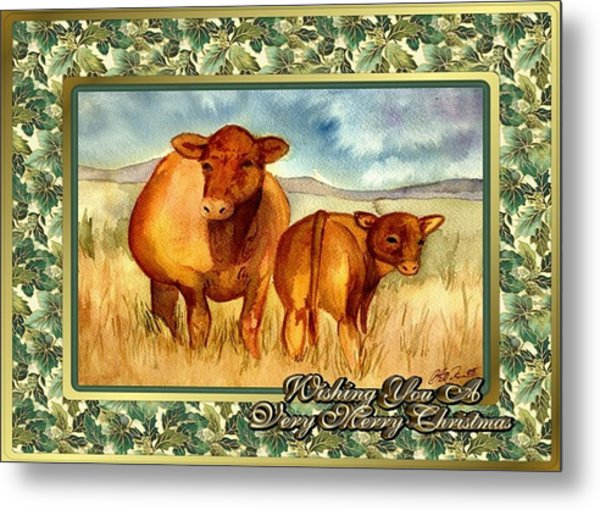 Red Angus Cow And Calf Blank Christmas Card Painting By