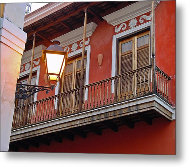 Red Balcony Metal Print