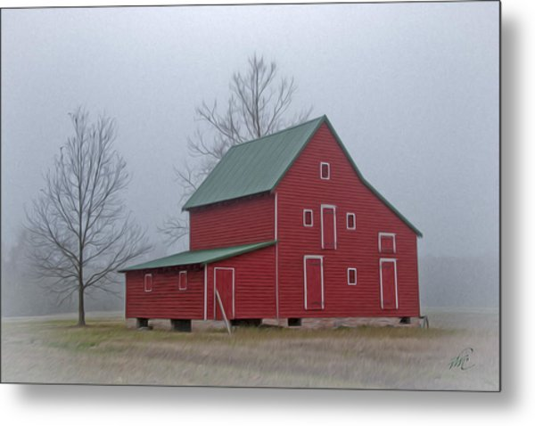 Red Barn At Ware Neck Metal Print by Williams-Cairns Photography LLC