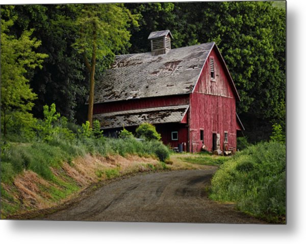 Red Barn - County Road  Metal Print