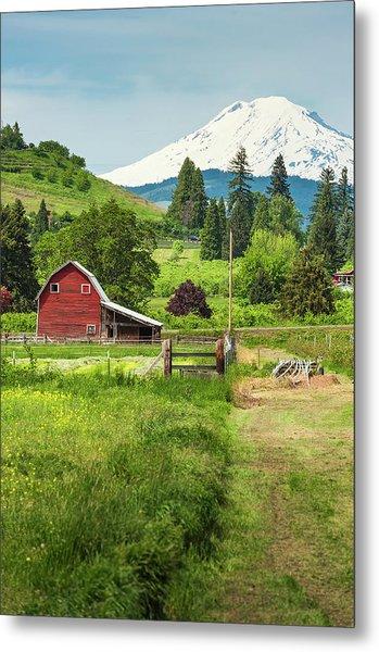 Red Barn Green Farmland White Mountain Metal Print
