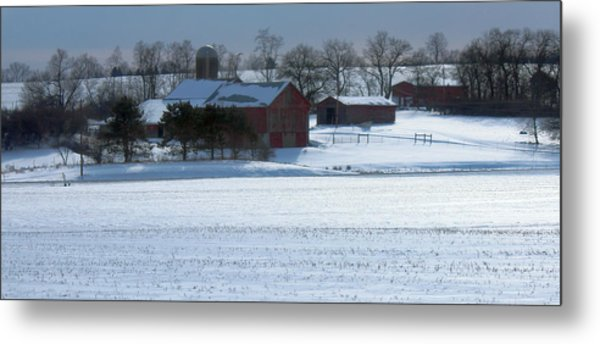 Red Barn In Snow Cover Metal Print