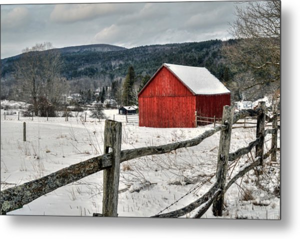 Red Barn In Winter - Tyringham Cobble Metal Print