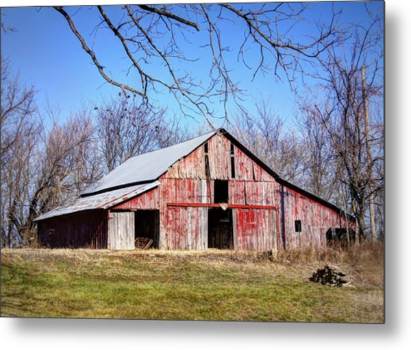Red Barn On The Hill Metal Print