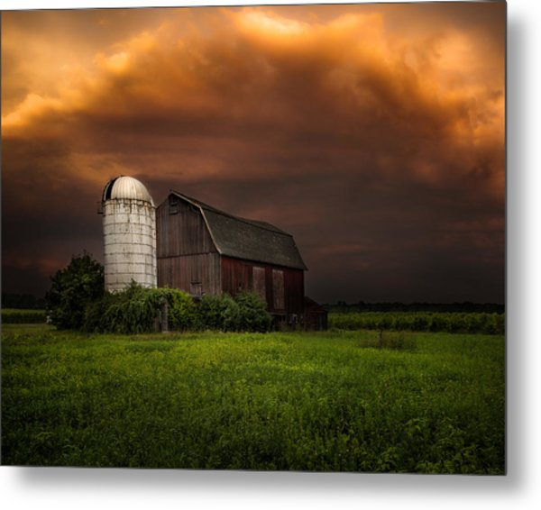 Metal Print featuring the photograph Red Barn Stormy Sky - Rustic Dreams by Gary Heller