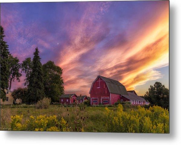Red Barn Sunset 2 Metal Print