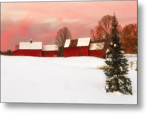 Red Barn Sunset Metal Print