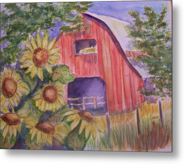 Red Barn With Sunflowers Metal Print