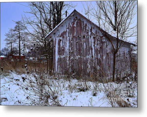 Red Barns In Winter Metal Print