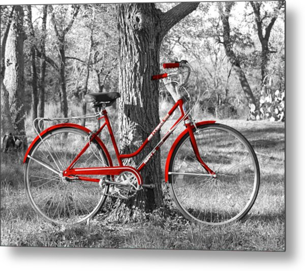 Red Bicycle Metal Print