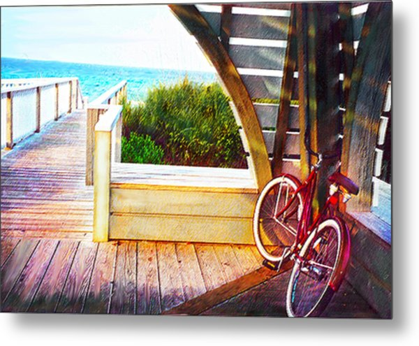Red Bike On Beach Boardwalk Metal Print