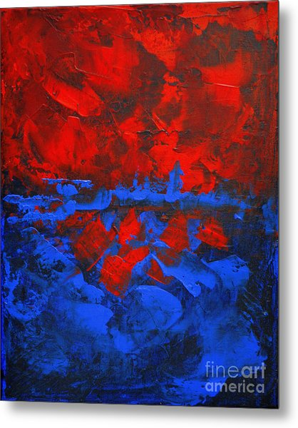 Red Blue Abstract Make It Happen By Chakramoon Metal Print by Belinda Capol
