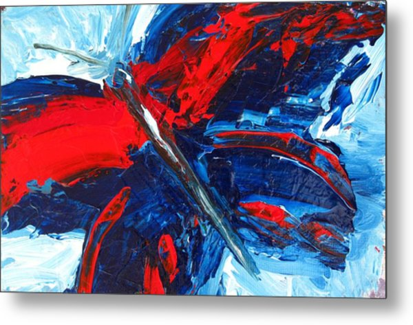 Red Blue Butterfly Metal Print