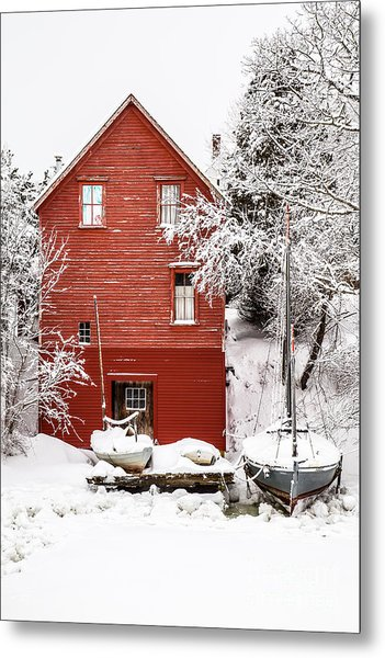 Red Boathouse In The Snow Metal Print