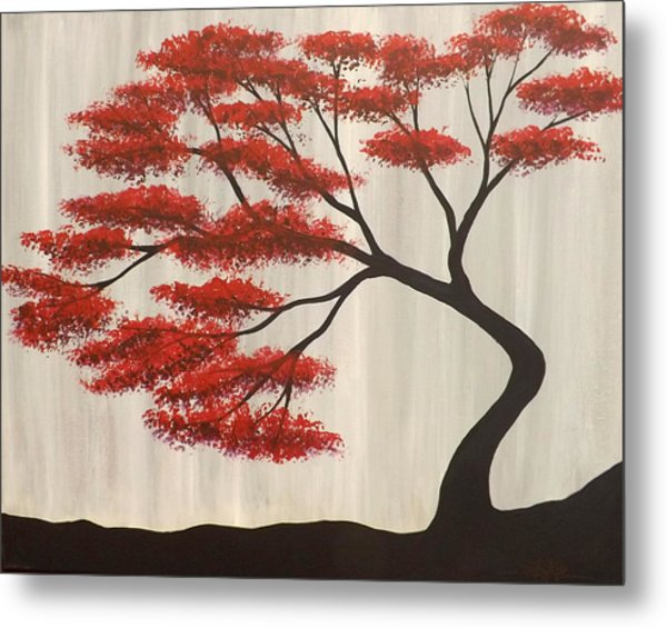 Red Bonsai Metal Print