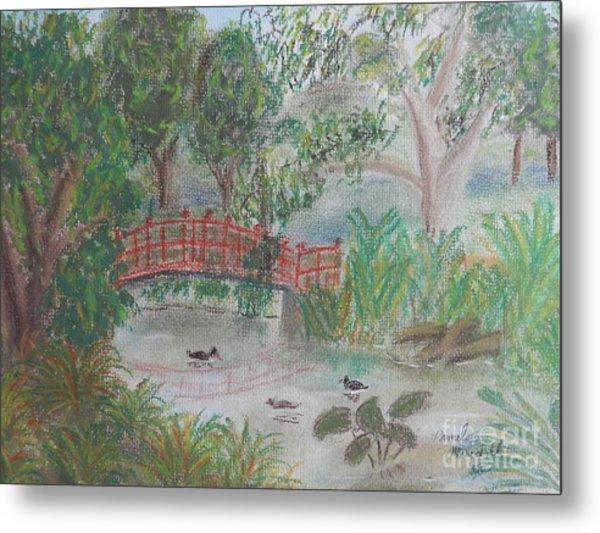 Red Bridge At Wollongong Botanical Gardens Metal Print