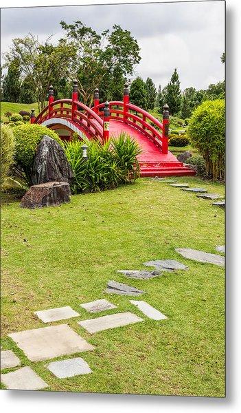 Red Bridge In A Japanese Garden Metal Print