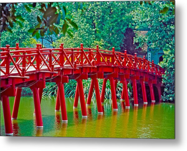 Red Bridge In Hanoi Vietnam Metal Print