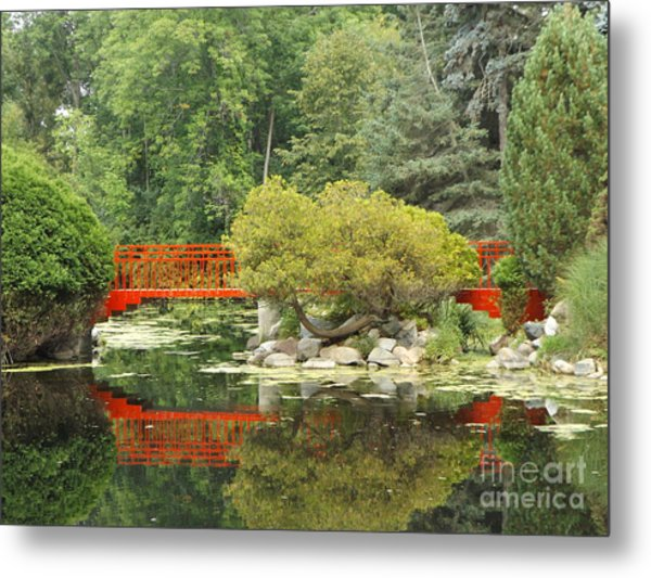 Red Bridge Reflection In A Pond Metal Print
