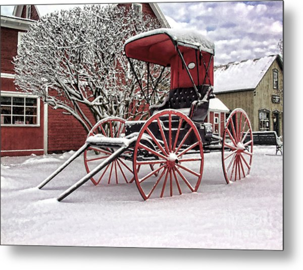 Red Buggy At Olmsted Falls - 1 Metal Print