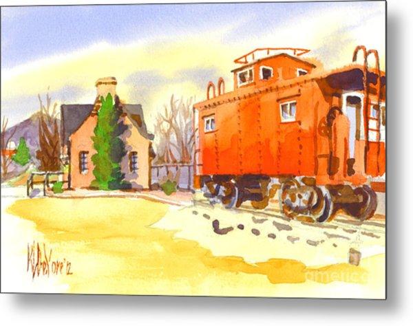 Red Caboose At Whistle Junction Ironton Missouri Metal Print