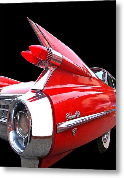 Red Cadillac Sedan De Ville 1959 Tail Fins Metal Print