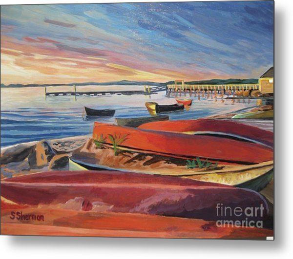 Red Canoe Sunset Metal Print