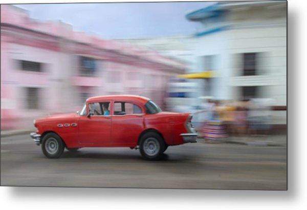 Red Car Havana Cuba Metal Print