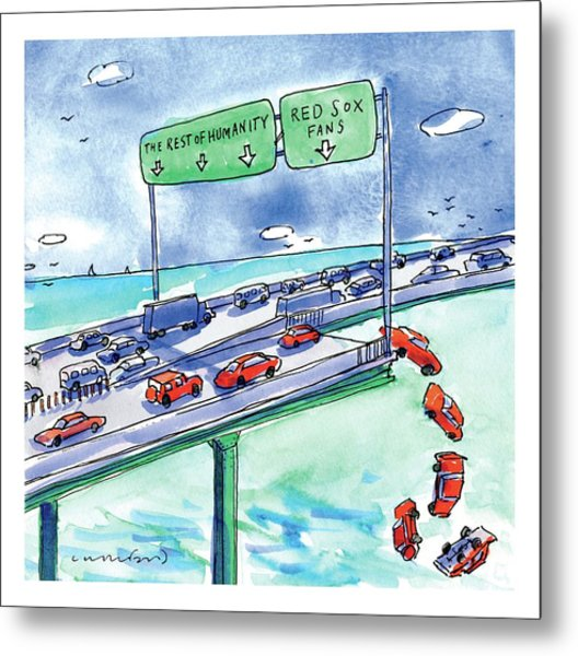 Red Cars Drop Off A Bridge Under A Sign That Says Metal Print