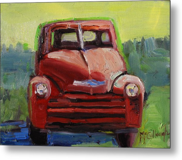 Red Chevy Metal Print by Susan McCullough