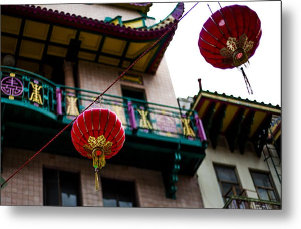 Red Chinese Lanterns Metal Print by SFPhotoStore
