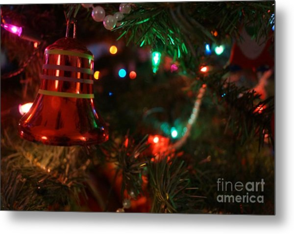 Red Christmas Bell Metal Print