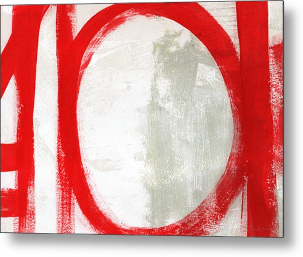Red Circle 3- Abstract Painting Metal Print
