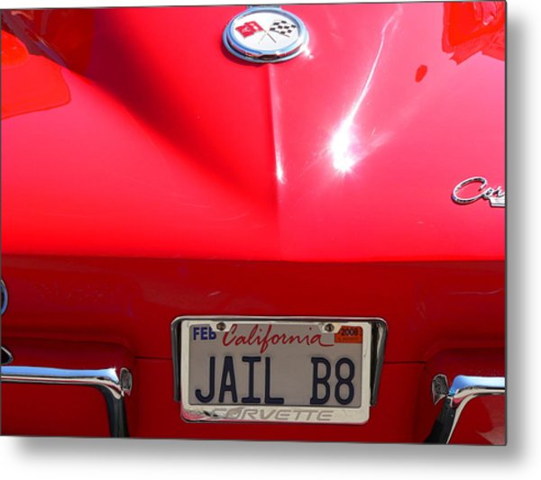 Metal Print featuring the photograph Red Classic Corvette Jail Bait by Jeff Lowe
