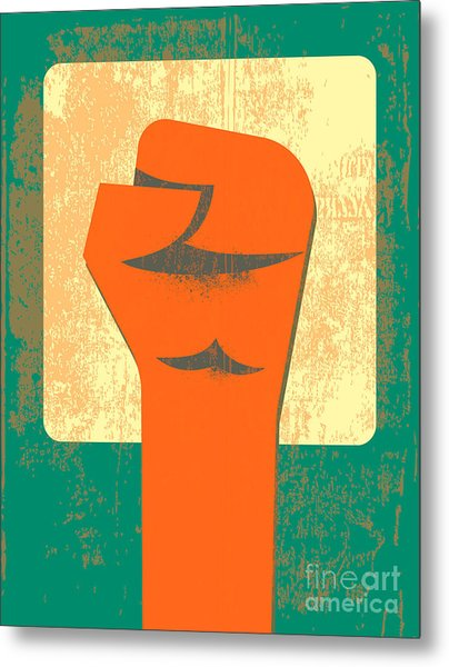 Red Clenched Fist Retro Poster Metal Print
