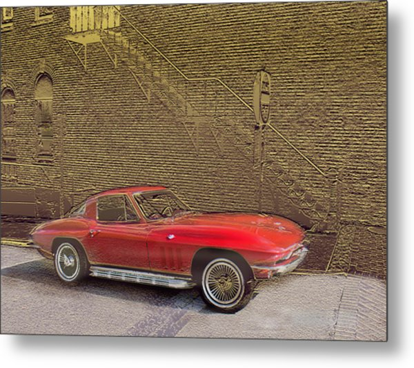 Red Corvette Metal Print